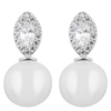 Snö of Sweden Gracie Small Short Earrings, Silver and White