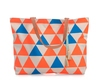 Shelas Strandtasche in Orange/Blau gemustert