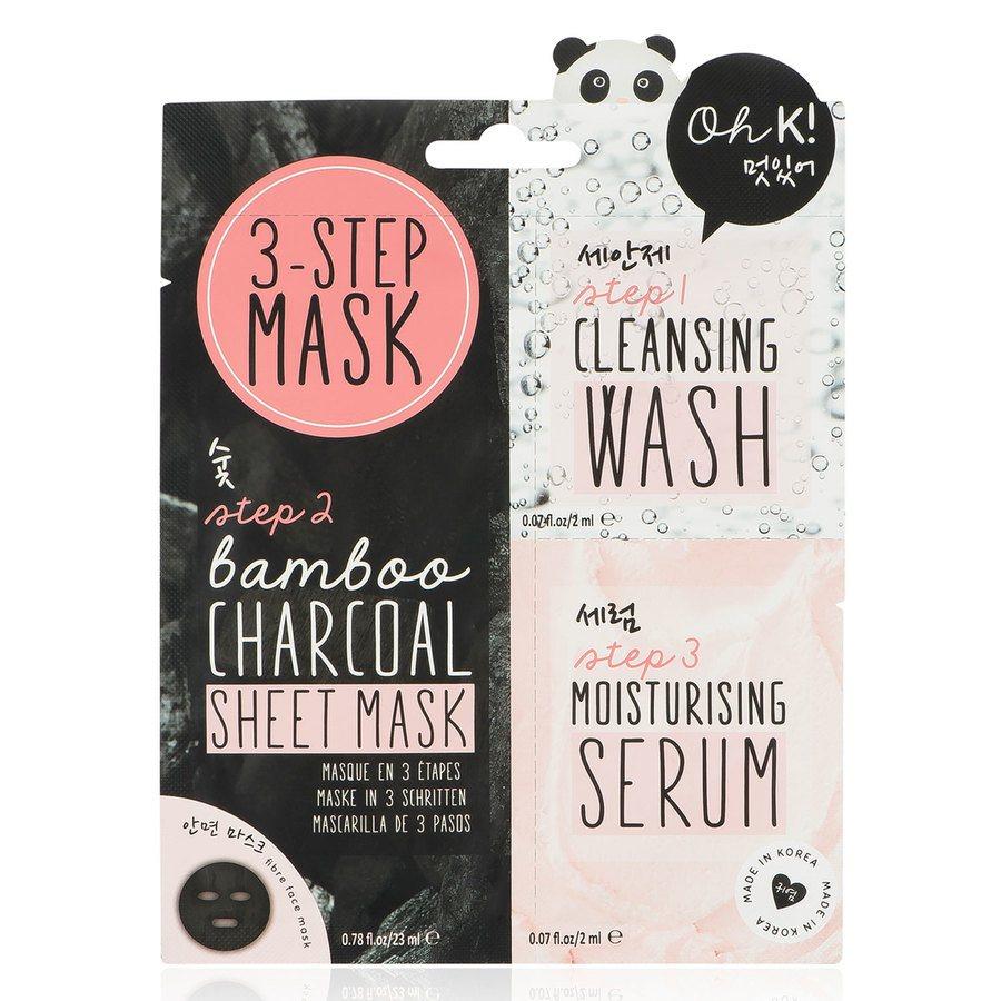 Oh K! 3 Step Bamboo Charcoal Sheet Mask 23ml + 2ml