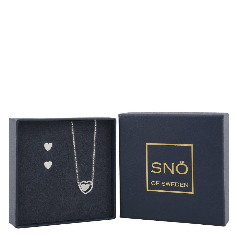 SNÖ of Sweden Belize Heart Pendant Set Plain Silver