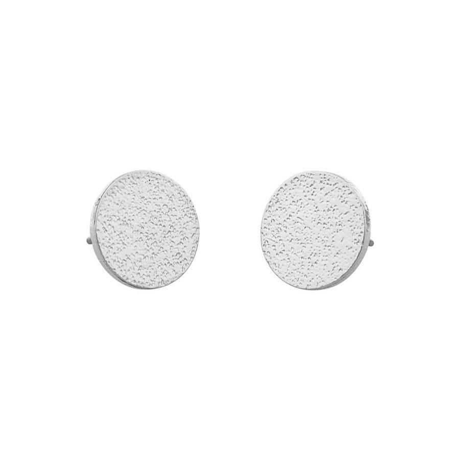 Snö of Sweden Lynx Small Coin Earring, Plain Silver