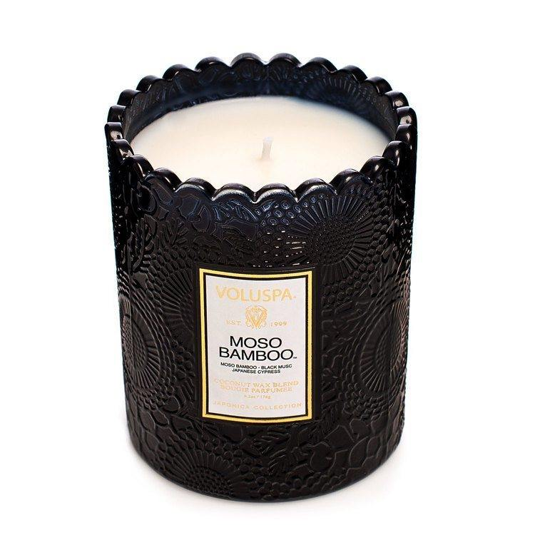Voluspa Maso Bamboo Embossed Glass Scalloped Edge Candle 176g