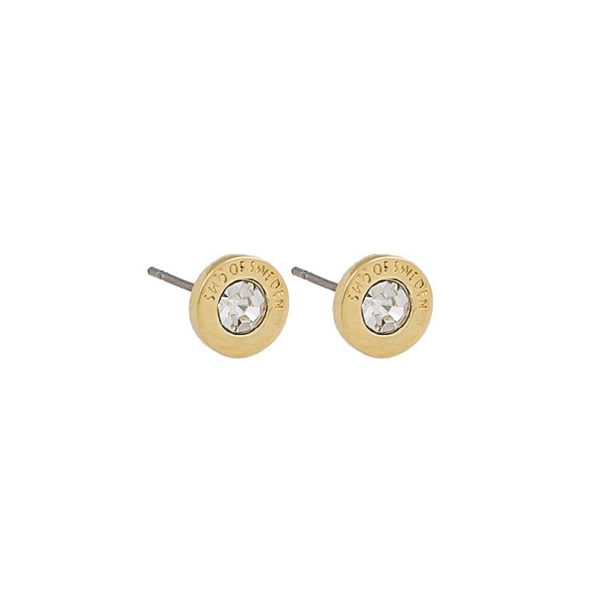 Snö Of Sweden Sence Small Coin Earring, Gold/Clear