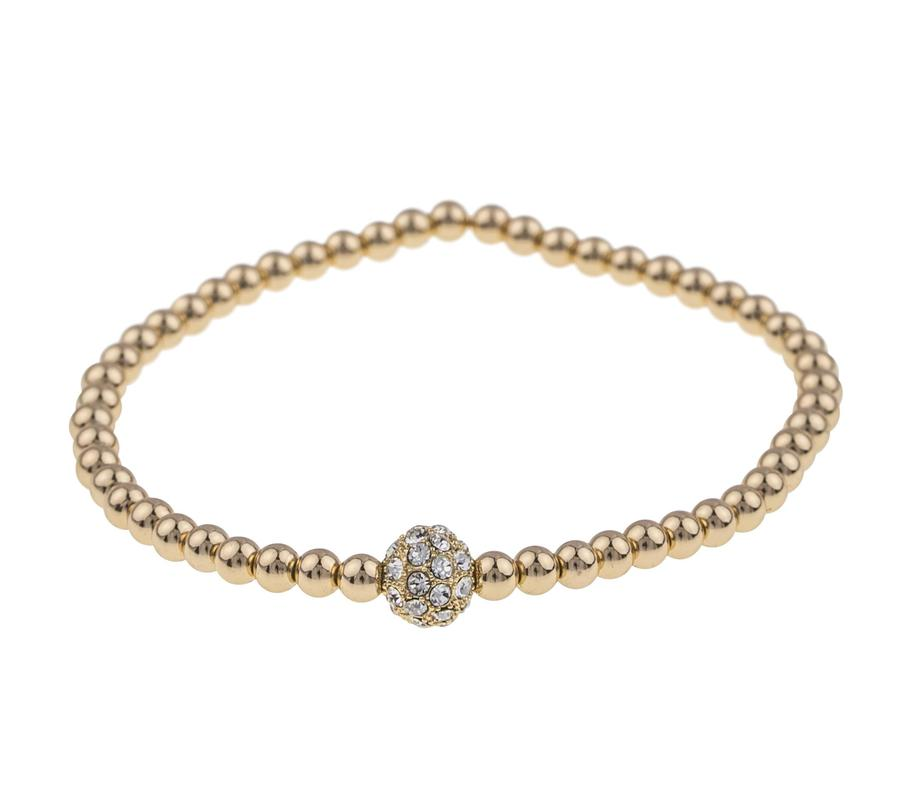 Snö Of Sweden Mysk Small Elastic Bracelet, Gold/Clear (S/M)