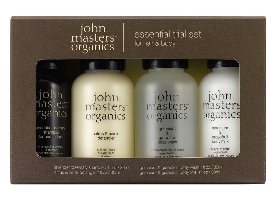 John Masters Organic Essential Kit For Hair & Body, 4-teiliges Set