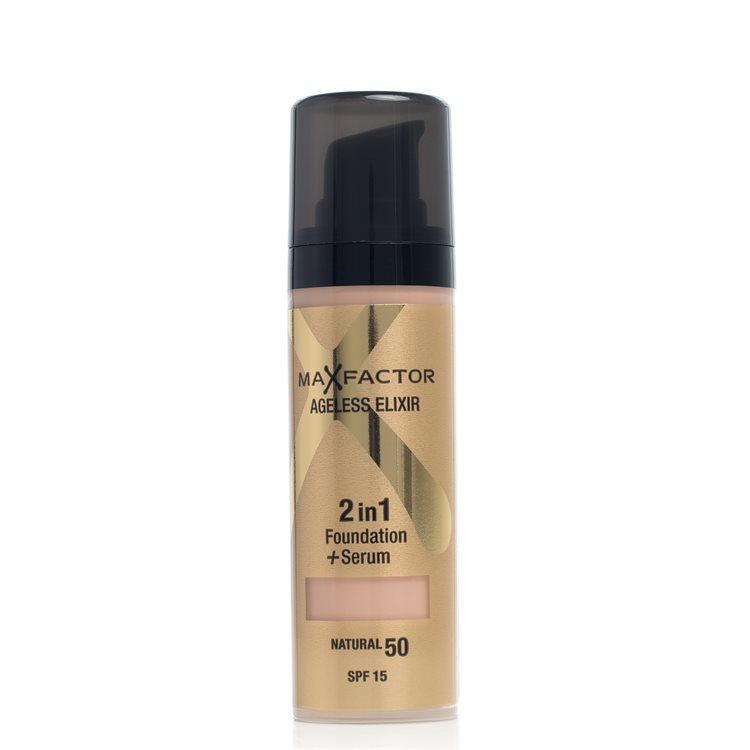 Max Factor Ageless Elixir 2-in-1 Foundation + Serum LSF 15, Natural 50