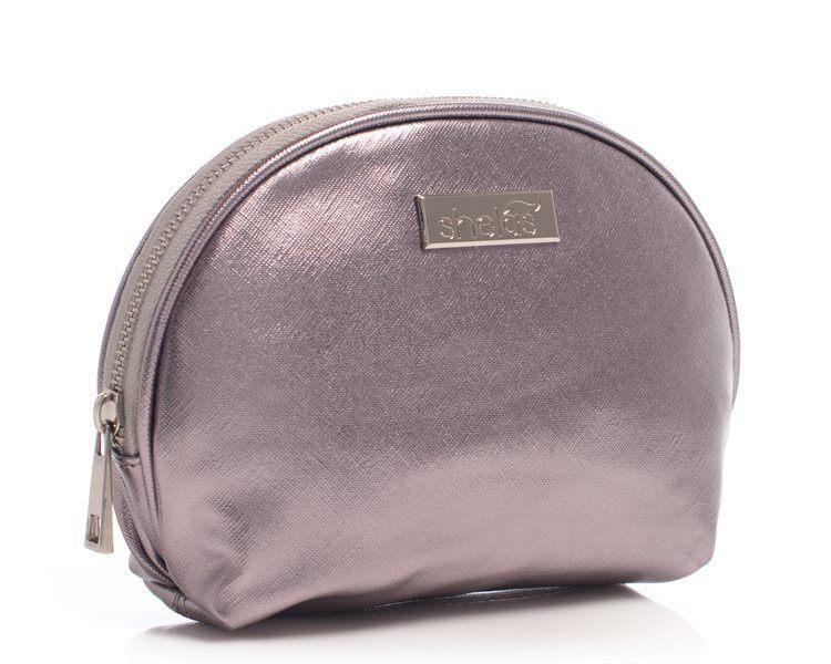 Shelas Ovale Handtasche, Metallic-Grau