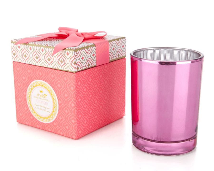Shelas Pink Orange Duftkerzen in einer attraktiven Geschenkbox mit Schleife