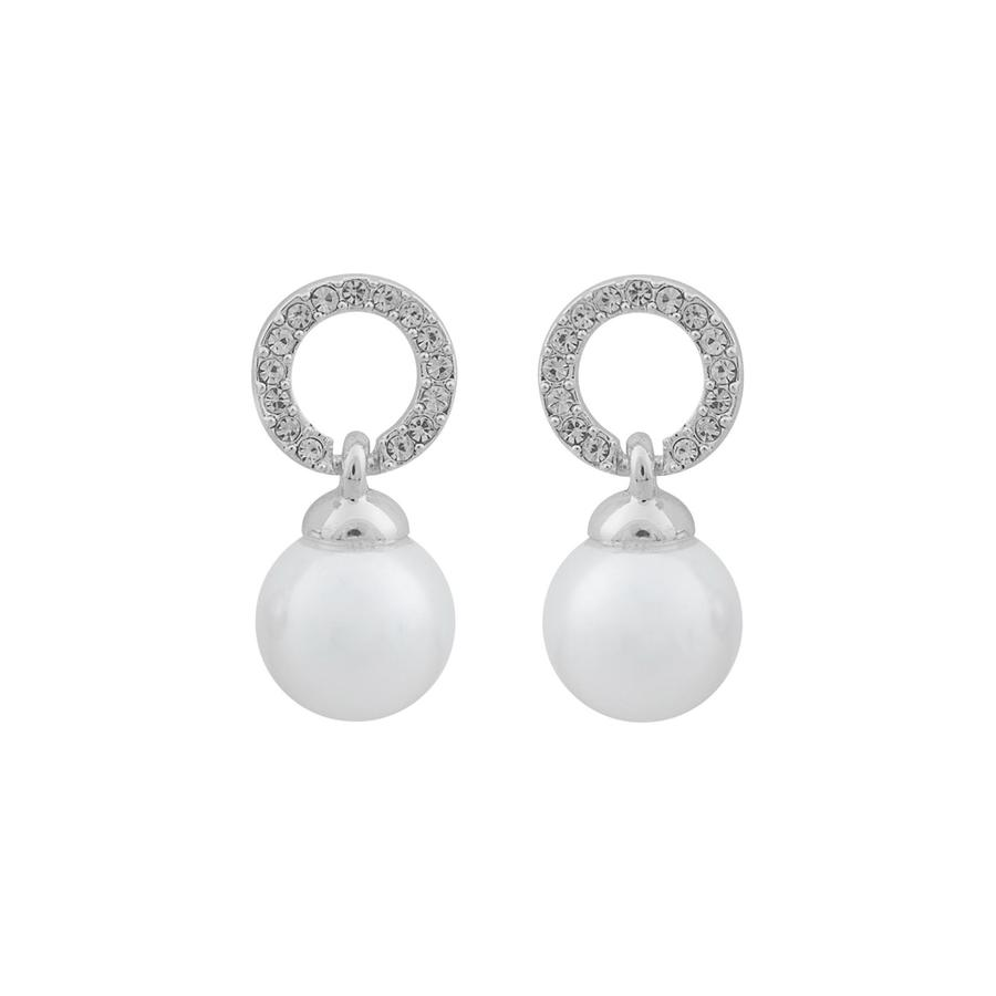 Snö of Sweden Daria Pearl Pendant Earring, Silver/White