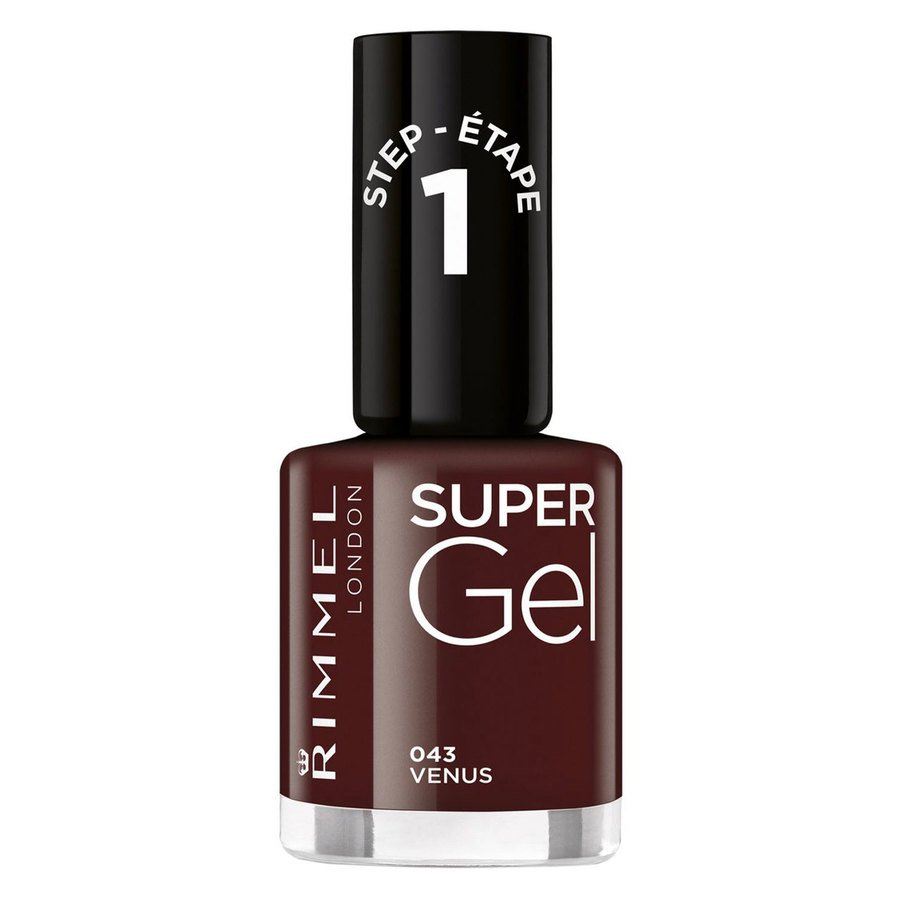 Rimmel London Super Gel Nail Polish, # 43 VenusDark Red (12 ml)