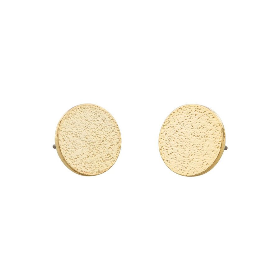 Snö of Sweden Lynx Small Coin Earring, Plain Gold