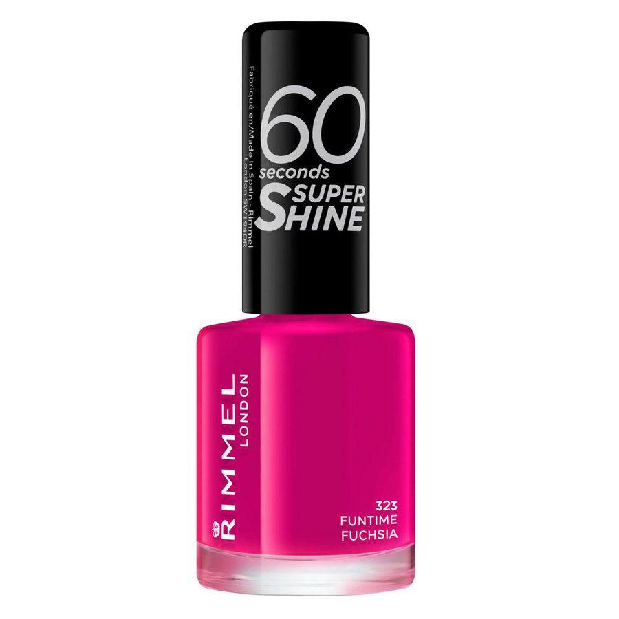 Rimmel London 60 Seconds Super Shine Nail Polish, # 323 Funtime Fuchsia (8 ml)