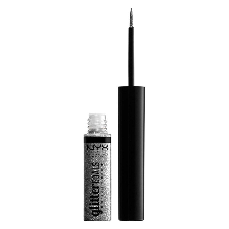 NYX Professional Makeup Glitter Goals Liquid Eyeliner (4ml), Silver