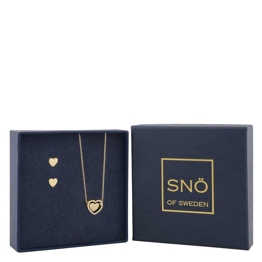SNÖ of Sweden Belize Heart Pendant Set Plain Gold