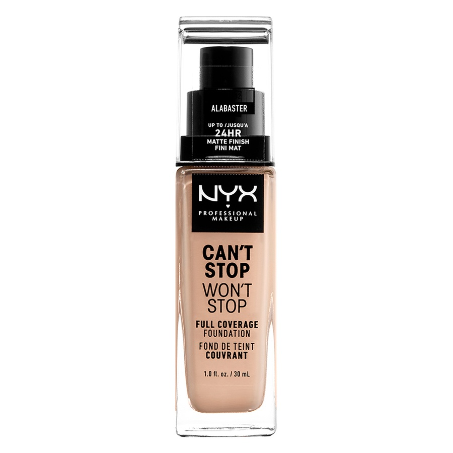NYX Can't Stop Won't Stop Full Coverage Foundation 30ml, Alabaster