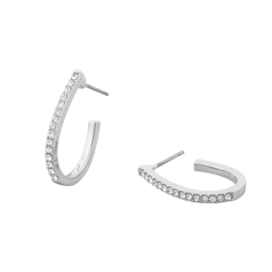 Snö of Sweden Corinne Oval Earring, Silver/Clear
