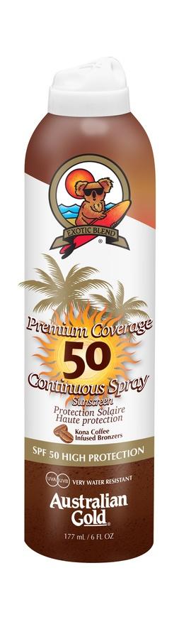 Australian Gold Premium Coverage Continuous Spray With Bronzer SPF 50 (177 ml)