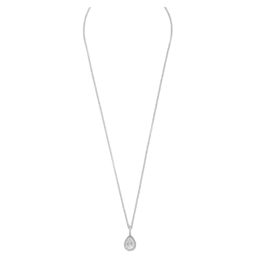 Snö Of Sweden Three Pendant Necklace, Silver/Clear (42 cm)