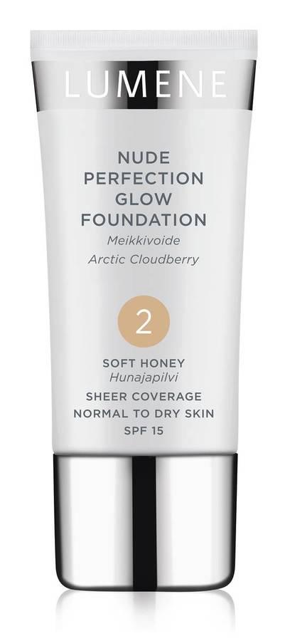 Lumene Nude Perfection Glow Foundation SPF 15 (30 ml), 2 Soft Honey