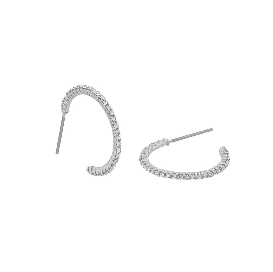 Snö Of Sweden Lily Oval Earring, Silver/Clear