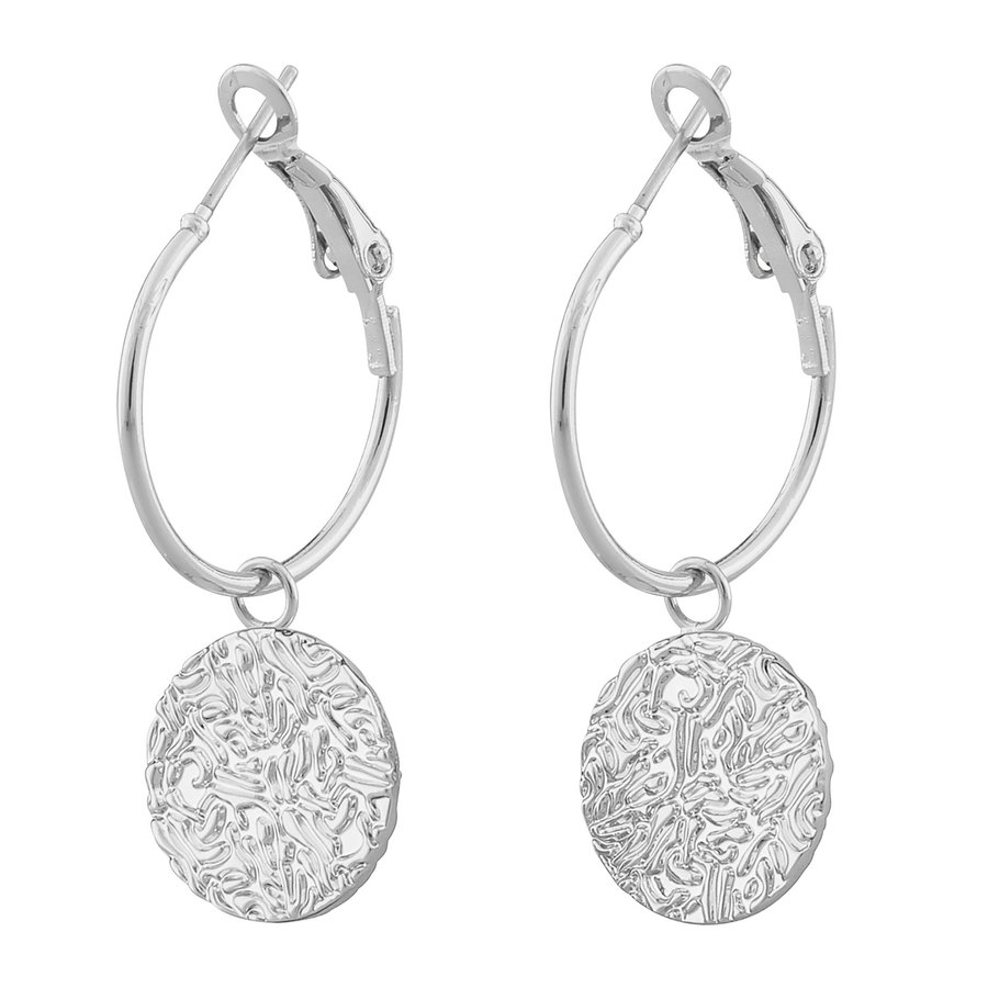 SNÖ of Sweden Penny Coin Round Ear Plain Silver