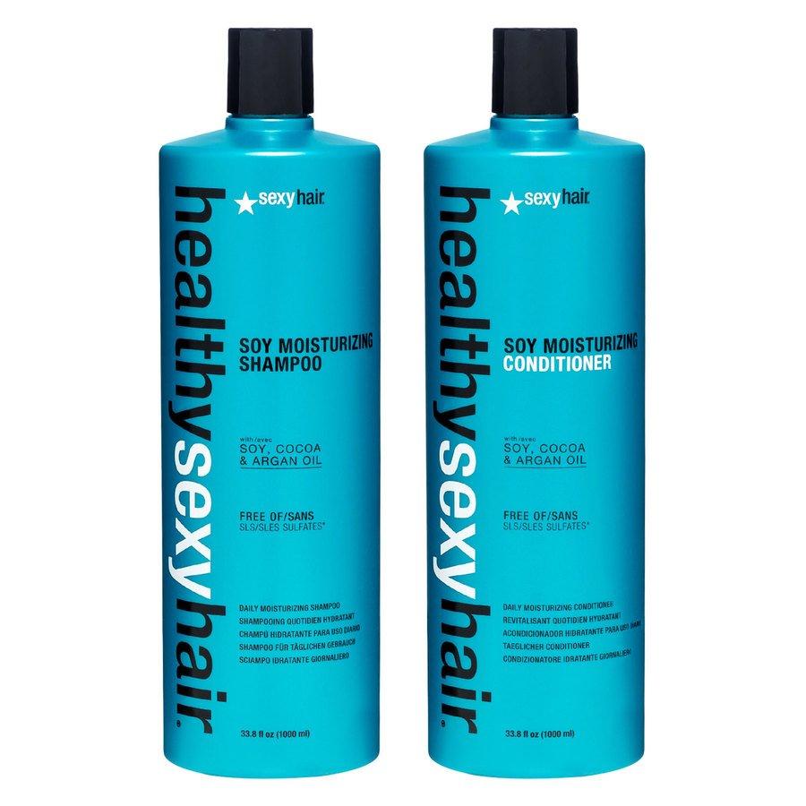 Healthy Sexy Hair Feuchtigkeitsspendendes Farbschutz-Shampoo und -Spülung mit Soja (2 x 1000 ml) (Duo)