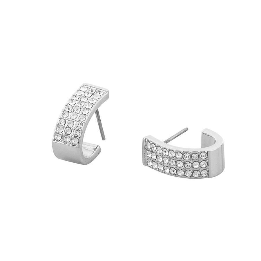 Snö of Sweden Corinne Small Wide Oval Earring, Silver/Clear