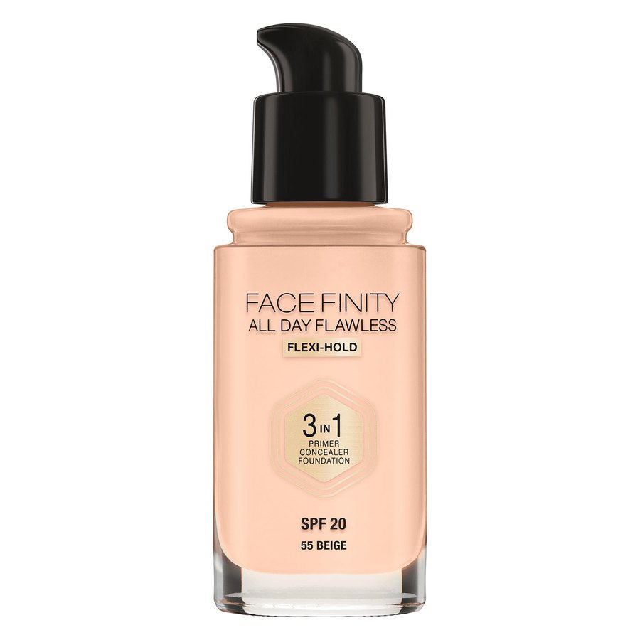 Max Factor Facefinity All Day Flawless 3-In-1 Foundation, #55 Beige (30 ml)