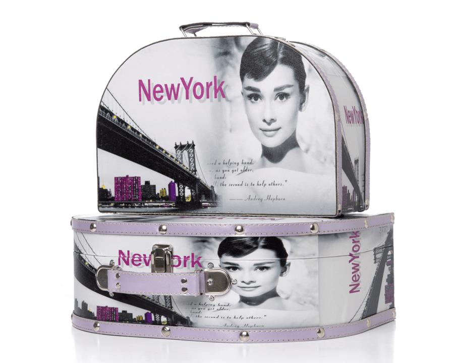 Aufbewahrungstaschen für Schmuck und Make-up in modernem Design mit New-York-Motiv. 2 Teile.
