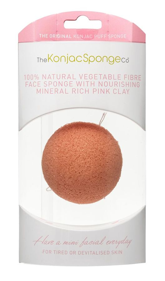 Konjac Facial Puff Sponge, French Pink Clay