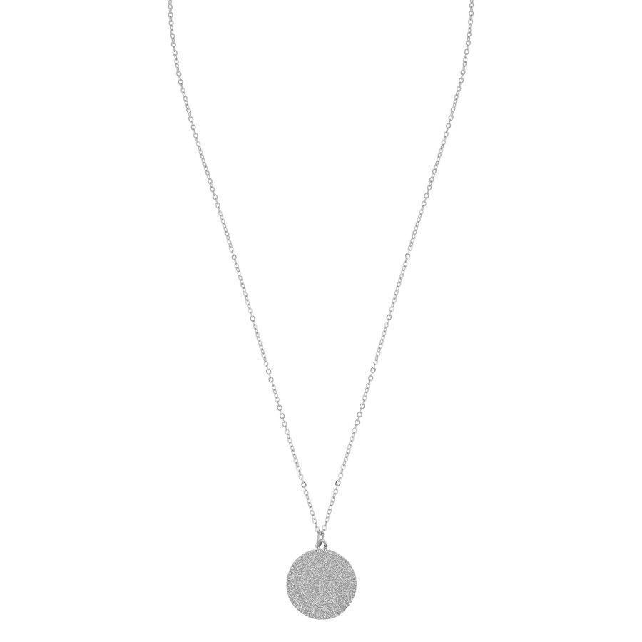 SNÖ of Sweden Penny Coin Pendant Neck Plain Silver 42cm