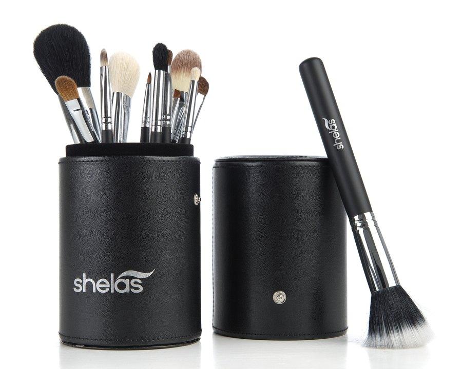 Shela's Leather Brush Geschenkset (12 Make-up-Pinsel)