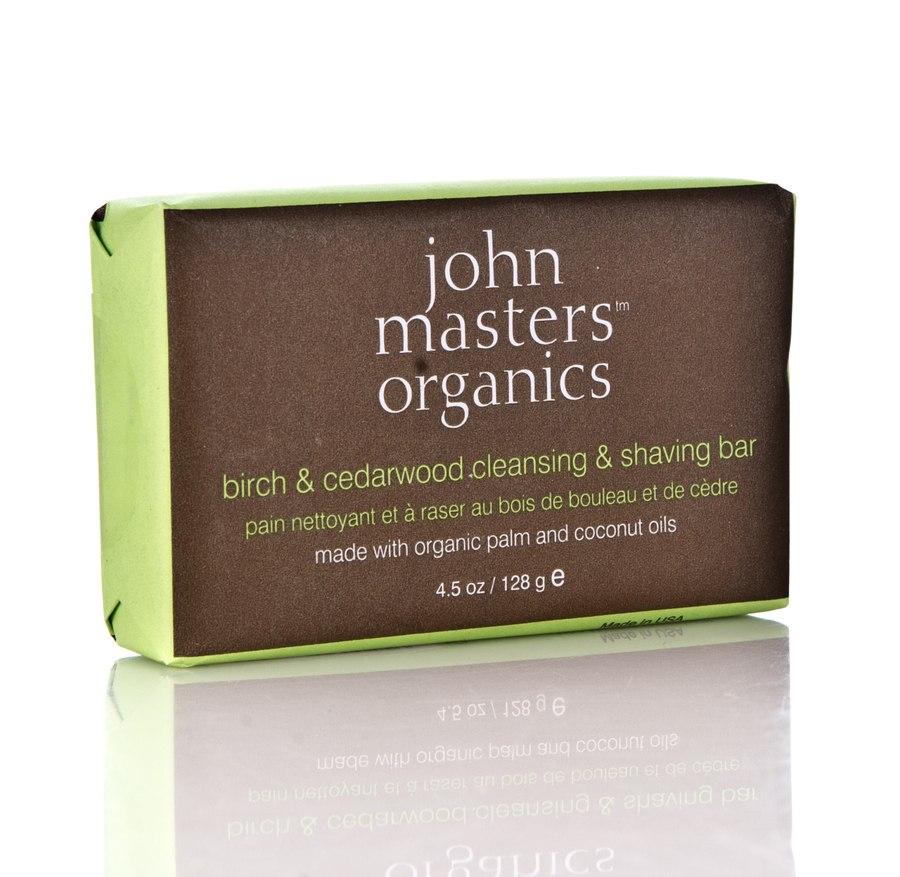 John Masters Organics Birch & Cedarwood Reinigungs- & Rasierseife (128 g)