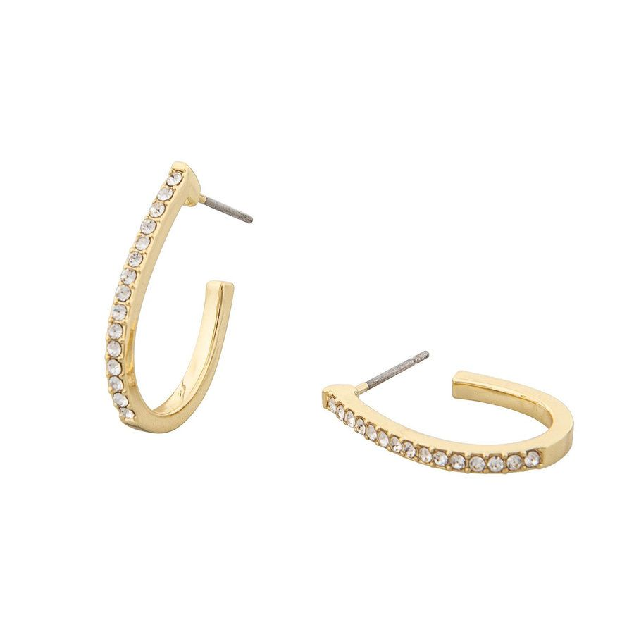 Snö of Sweden Corinne Oval Earring, Gold/Clear