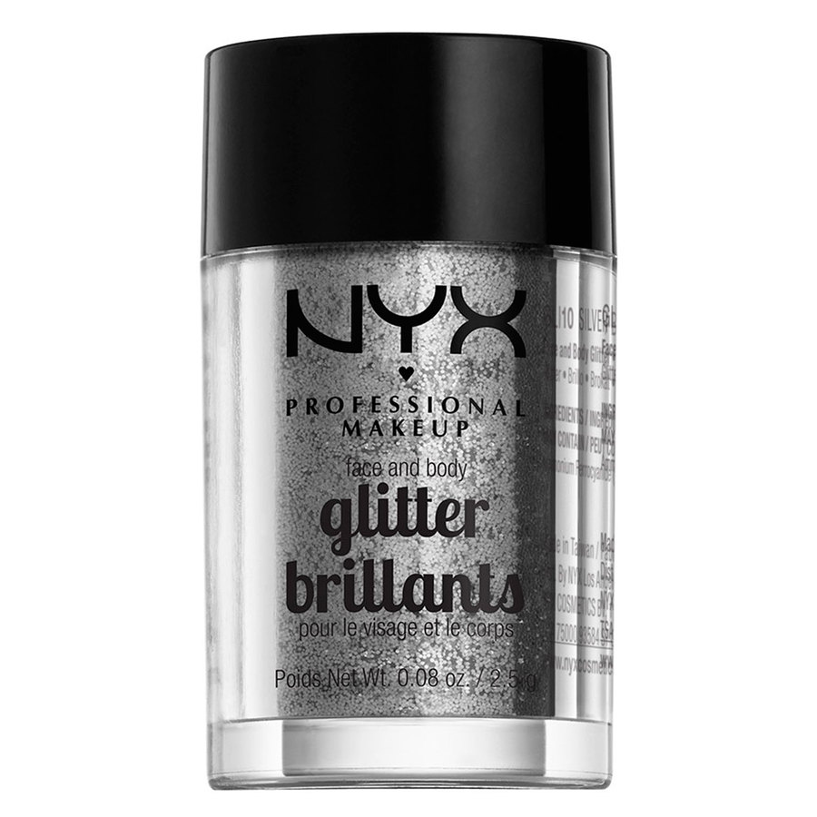 NYX Professional Makeup Face And Body Glitter Brilliants, Silver GLI10 (2,5 g)