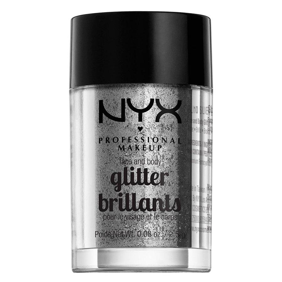 NYX Professional Makeup Face And Body Glitter Brilliants, Silver GLI10 (2,5 g)