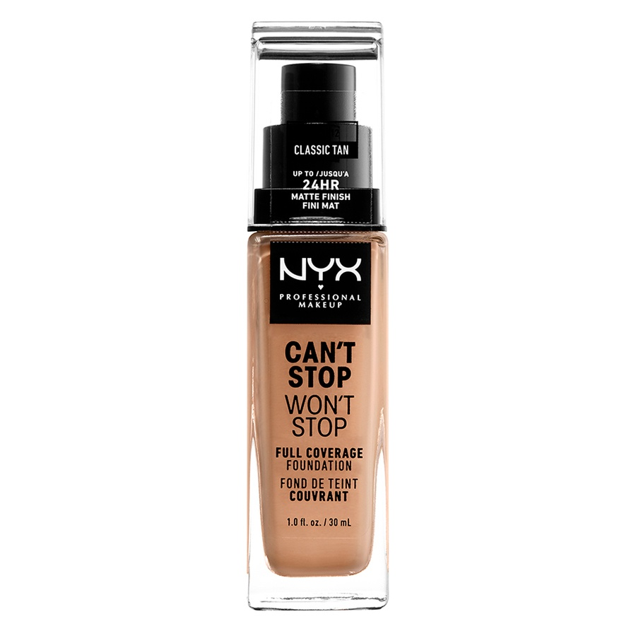 NYX Can't Stop Won't Stop Full Coverage Foundation 30ml, Classic Tan