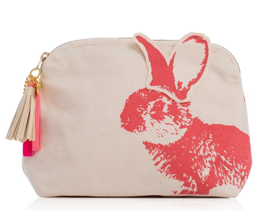 Shelas Tasche mit Kaninchen und Pflanzen, Himbeerrot