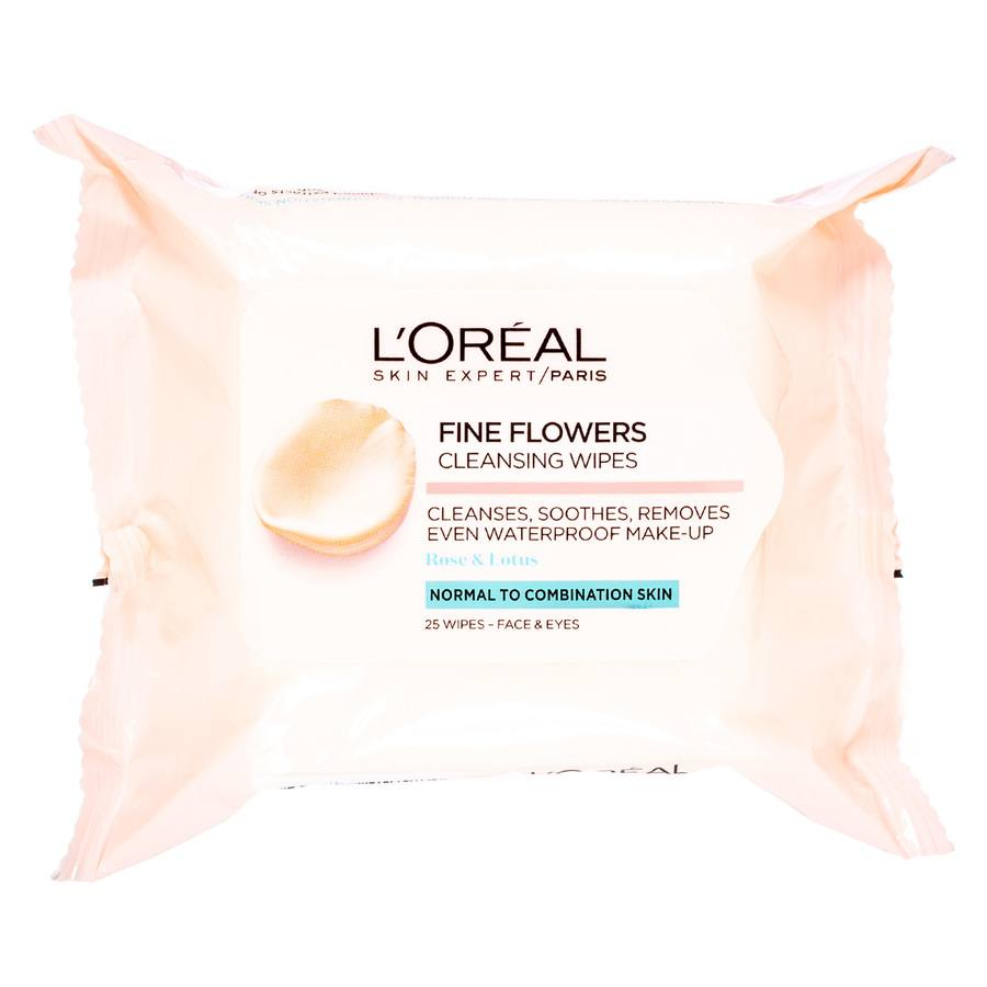 L'Oréal Paris Fine Flower Cleansing Wipes Normal To Combination (25 Stück)