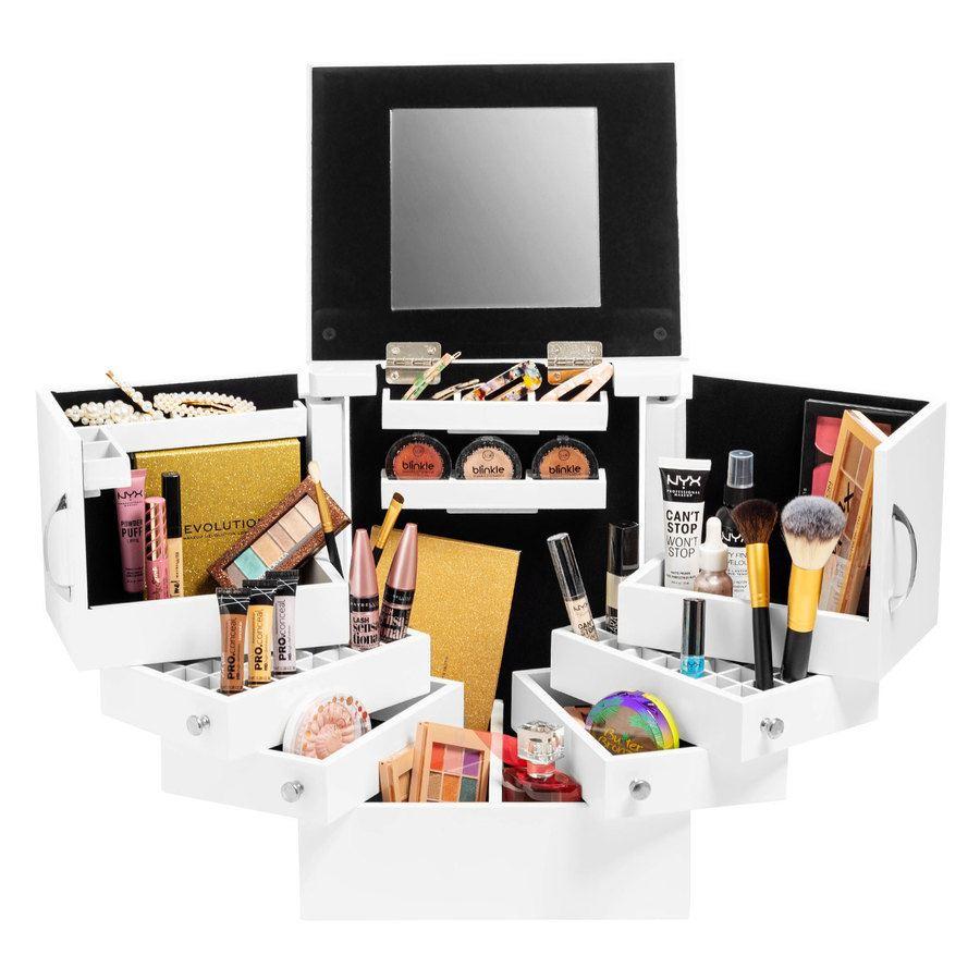 Shelas Deluxe Cosmetic Organizer Box mit Spiegel, weiß
